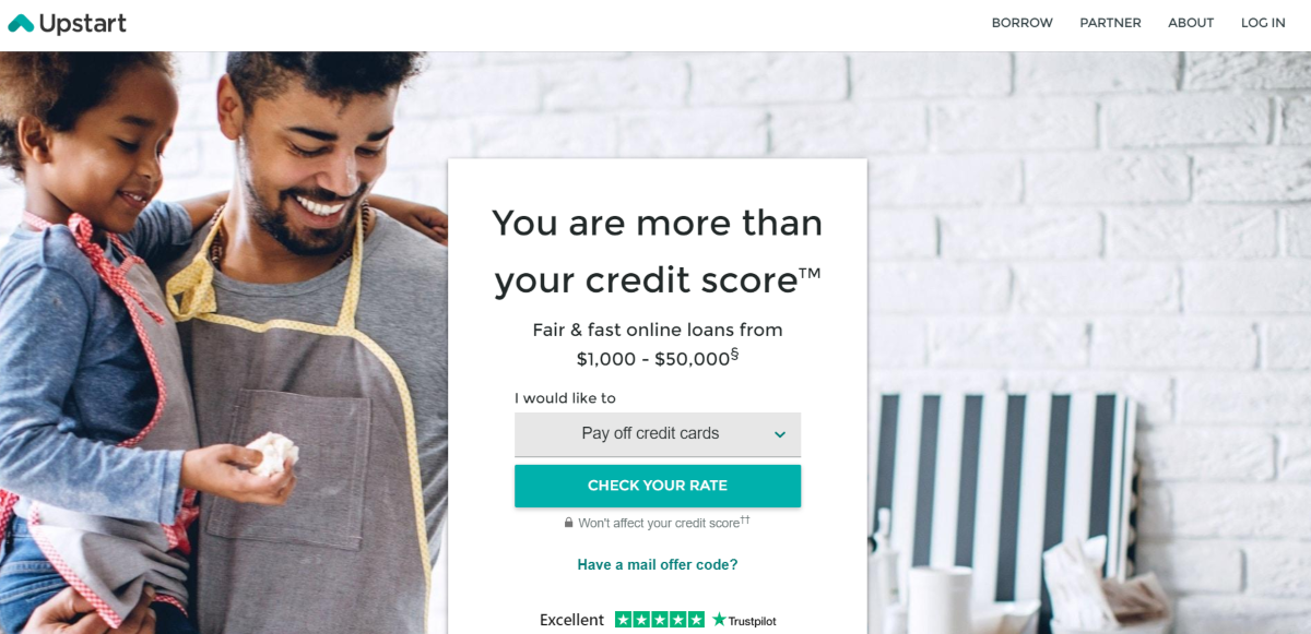 This is a screenshot taken from the Upstart.com website, which is an AI lending platform that provides debt consolidation loans for people with a FICO score of 620 and above.