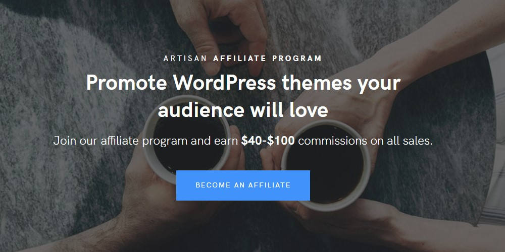 artisan themes affiliate sign up page