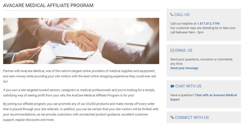 avacare medical affiliate sign up page