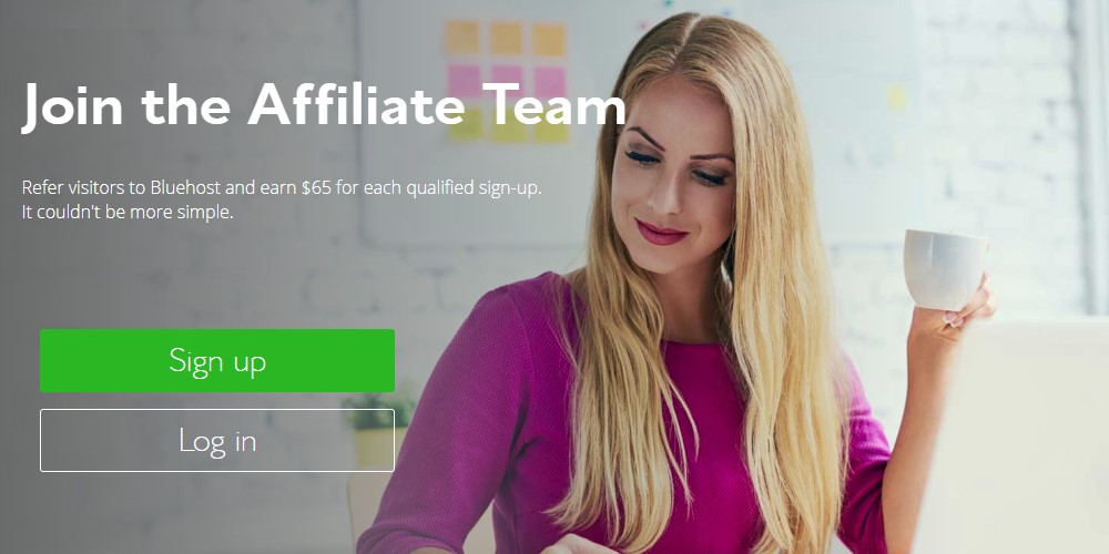 bluehost affiliate sign up page
