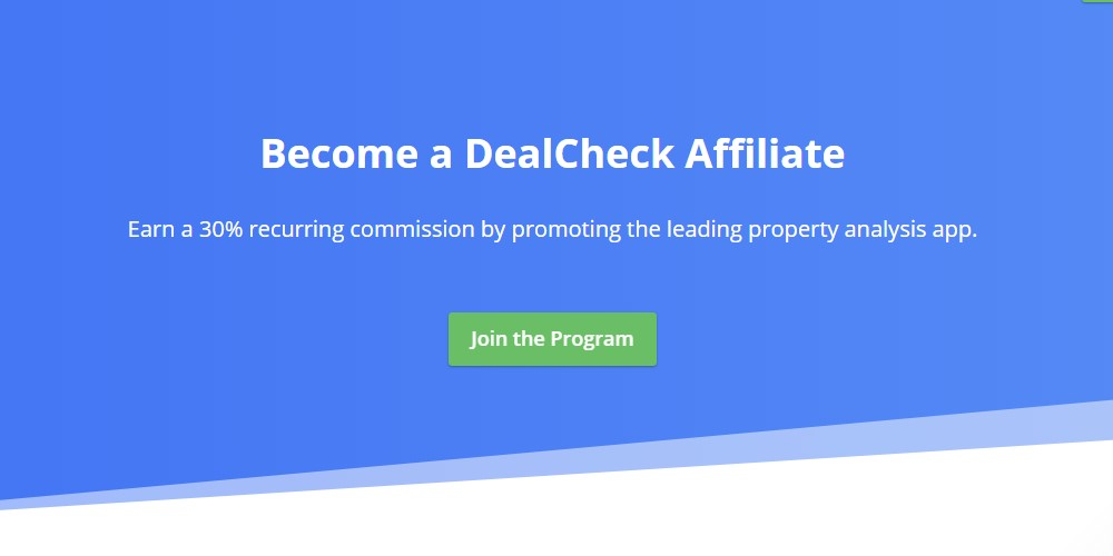 deal check affiliate sign up page