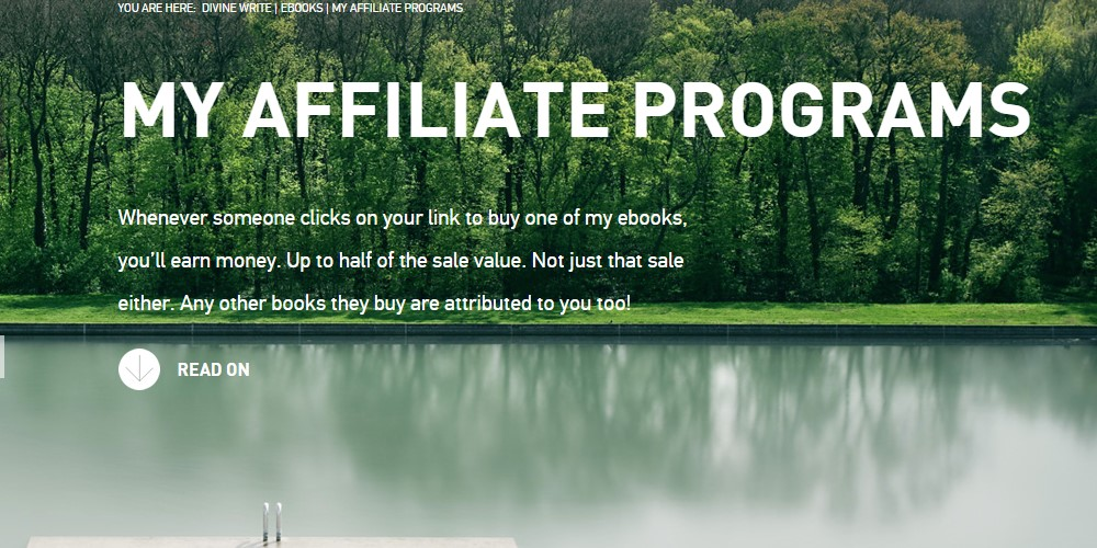 divine write affiliate sign up page