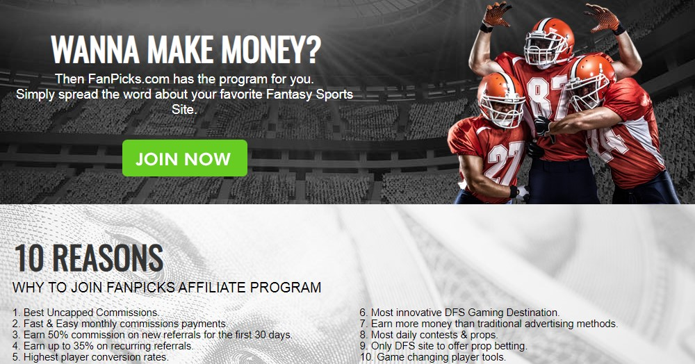 fan picks affiliate sign up page