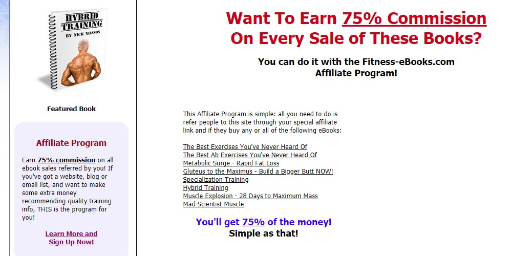 fitness ebooks affiliate sign up page