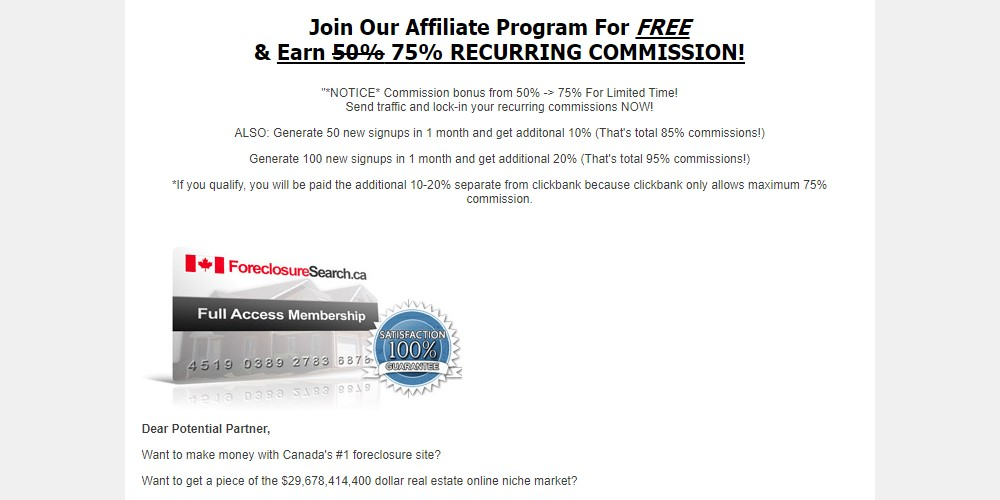 foreclosure search affiliate sign up page