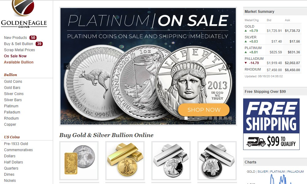 golden eagle coins home page