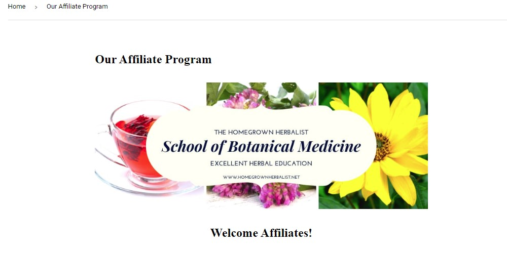 homegrown herbalist affiliate sign up page