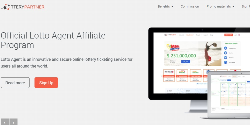 lottery partner affiliate sign up page