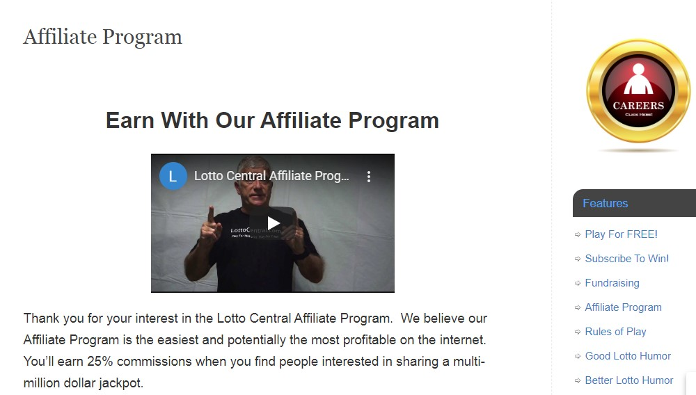 lotto central affiliate sign up page