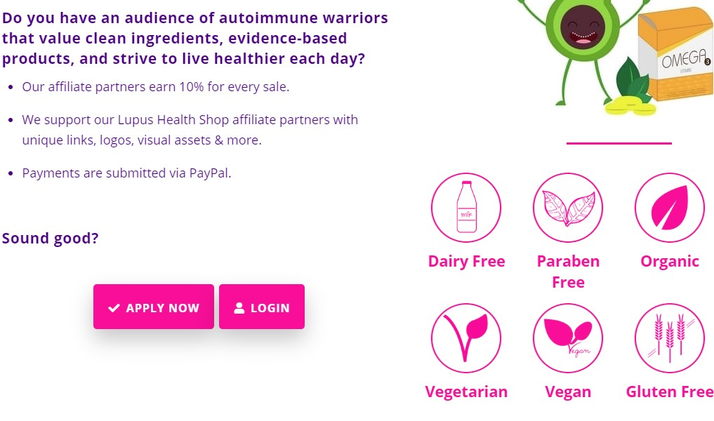 lupus health shop affiliate sign up page