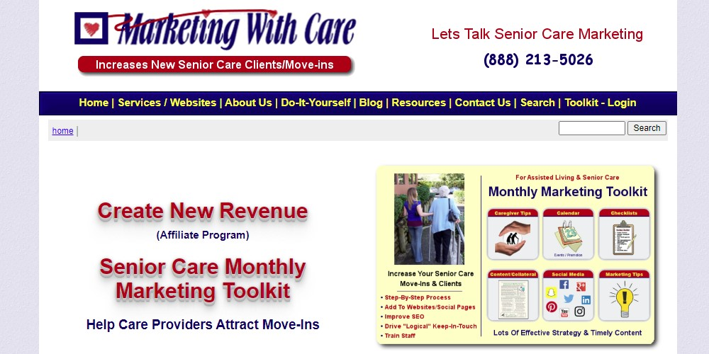 marketing with care affiliate sign up page