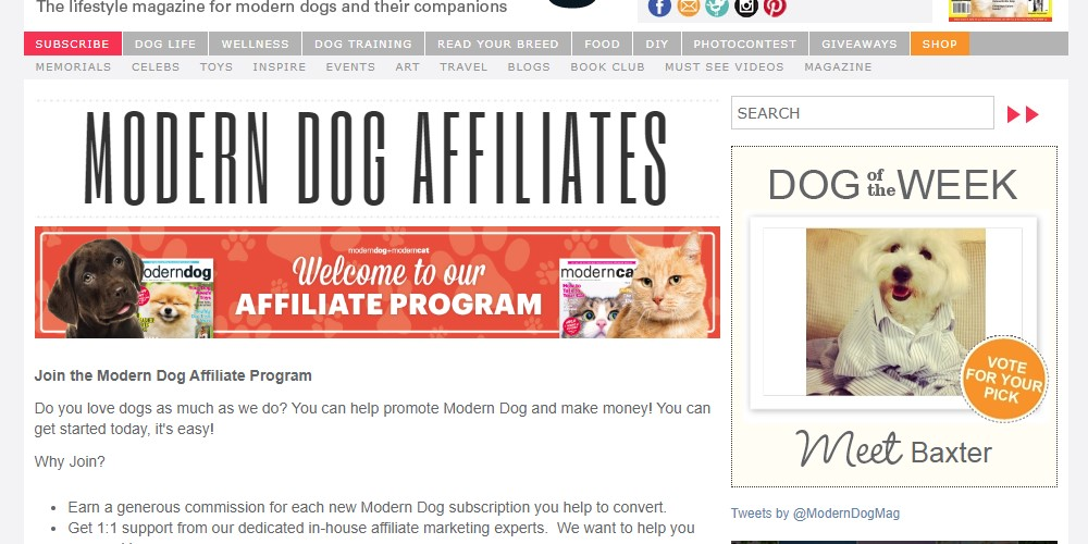 modern day magazine affiliate sign up page