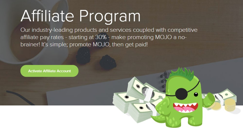 mojo marketplace affiliate sign up page