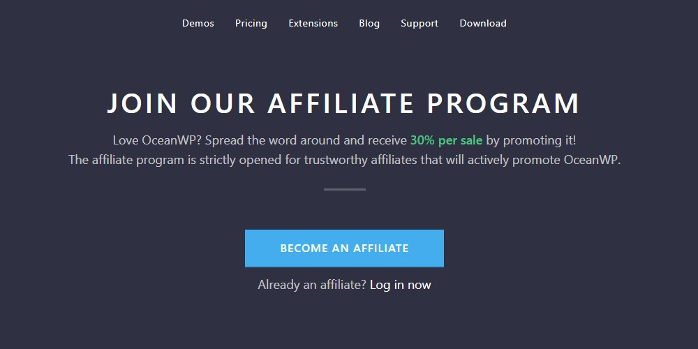 oceanwp affiliate sign up page