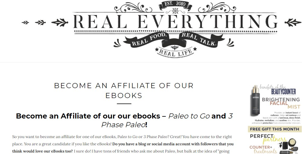 real everything affiliate sign up page