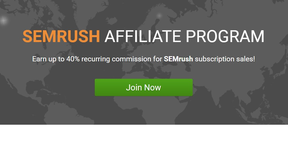 sem rush affiliate sign up page