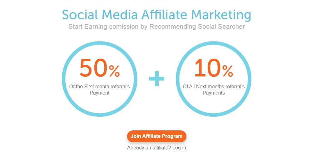 social searcher affiliate sign up page