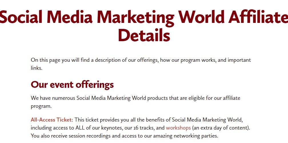 social media marketing world affiliate sign up page