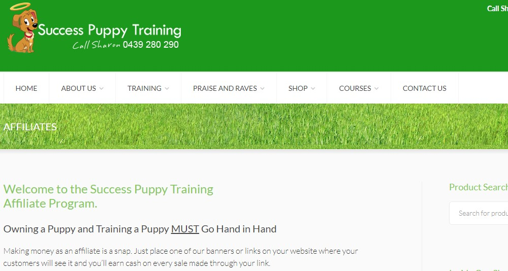 success puppy training affiliate sign up page