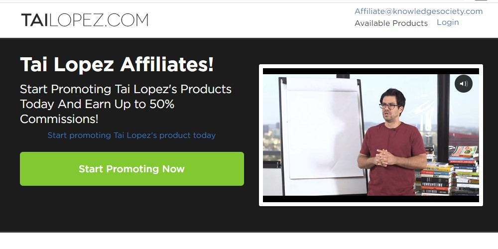 tai lopez affiliate sign up page