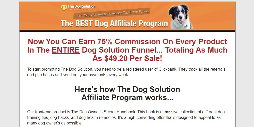 the dog solution affiliate sign up page