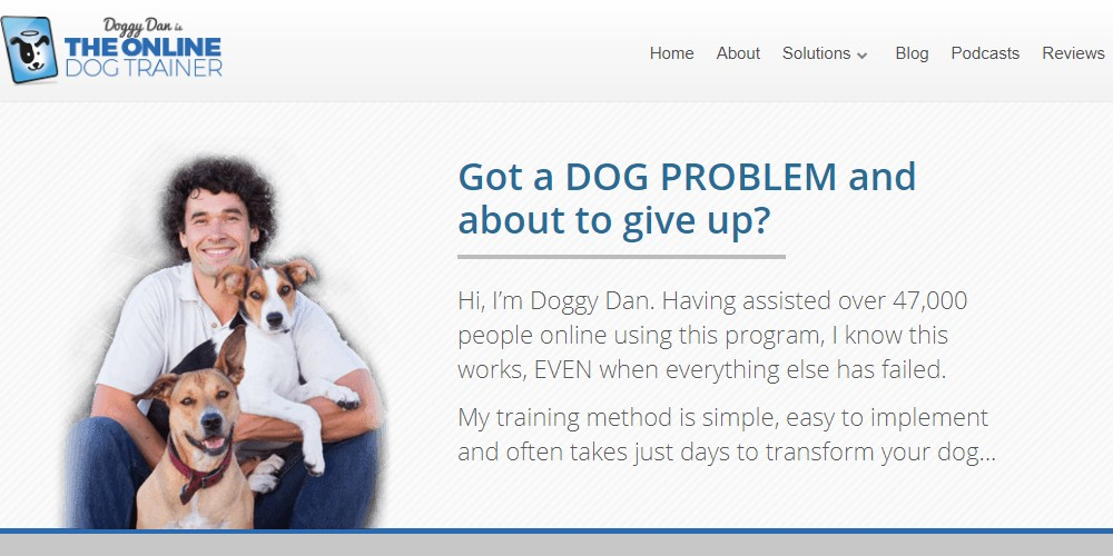 the online dog trainer home page