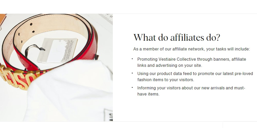 vestiaire collective affiliate sign up page