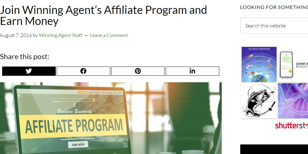 winning agent affiliate sign up page