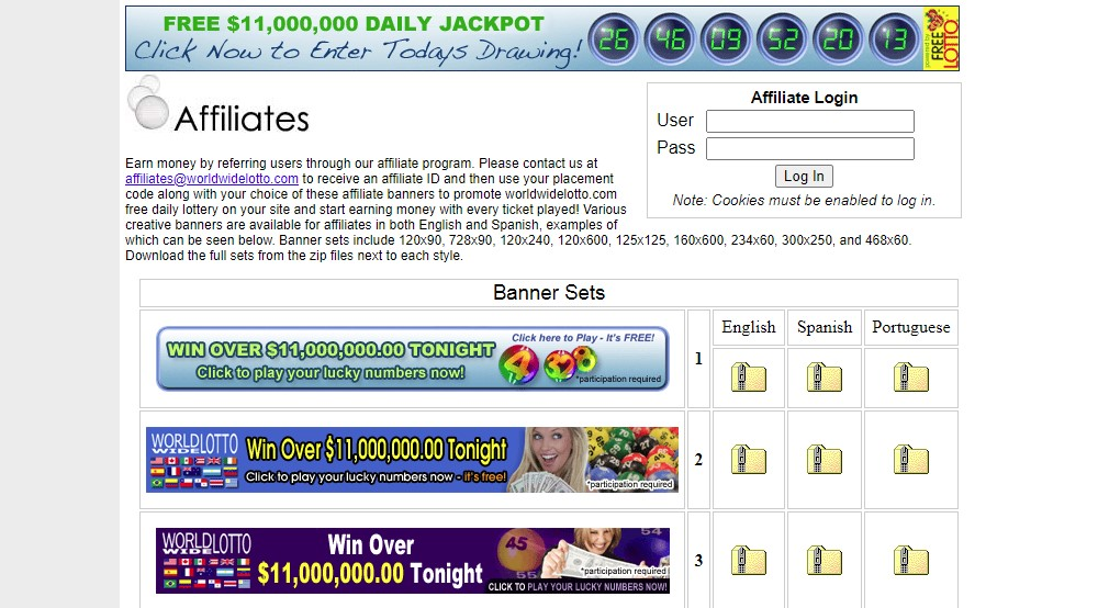 world wide lotto affiliate sign up page
