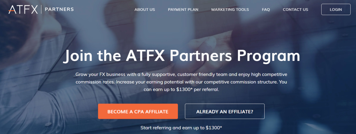 This is a screenshot of the ATFXPartners.com, which is where affiliates can partner to earn up to £1,300 CPA by promoting ATFX.com - a Forex Trading platform suited to day traders.