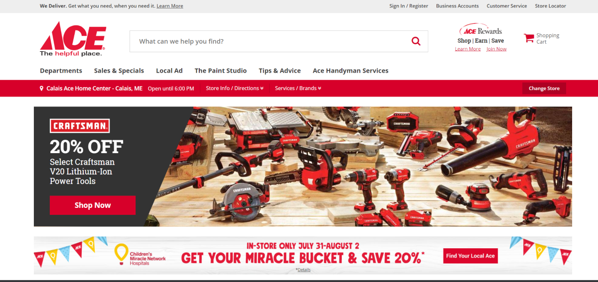 This is a screenshot taken from the AceHardware.com website