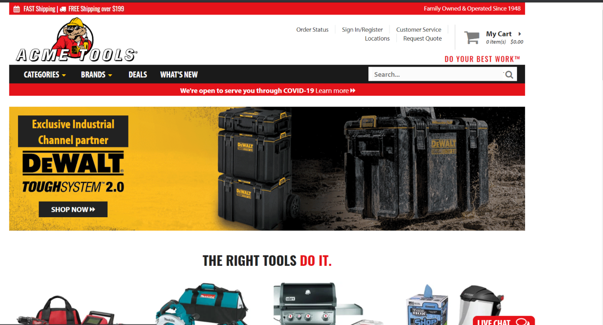 This is a screenshot taken form the AcmeTools.com that sell a range of woodworking tools including power tools for cutting lumber to various lengths