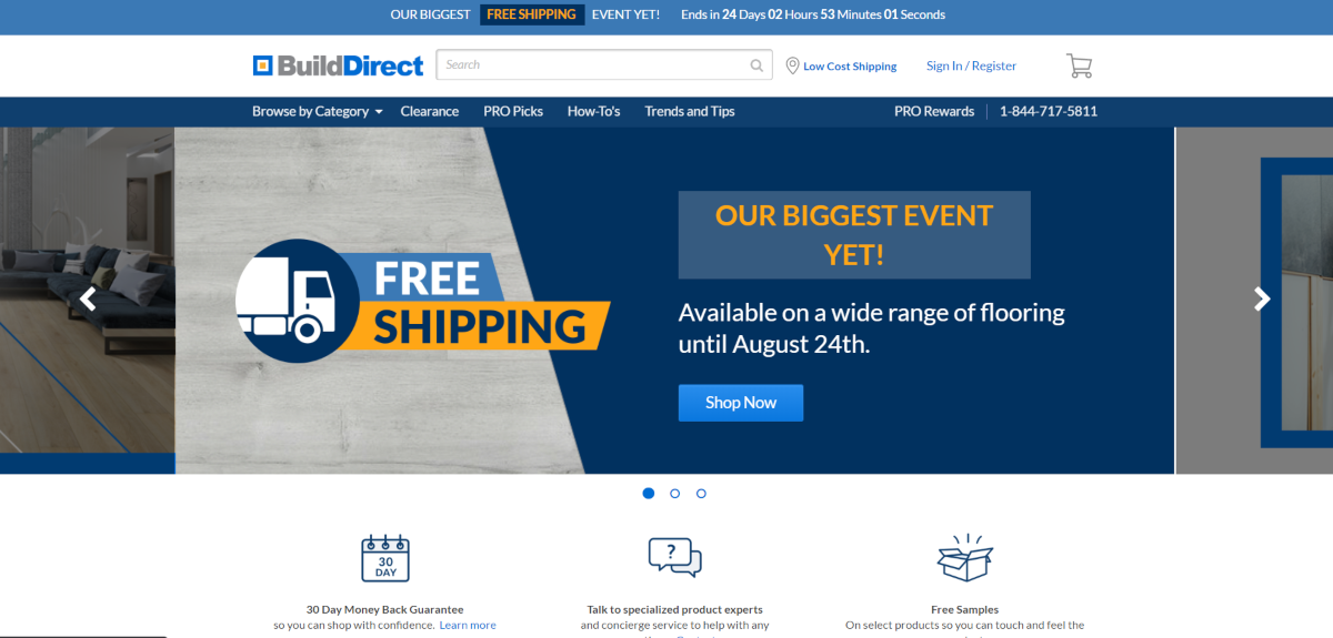 This is a screenshot taken from the Builddirect.com online store.