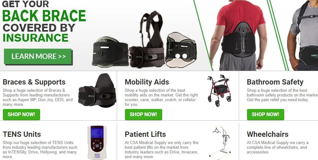 CSA Medical supply home page