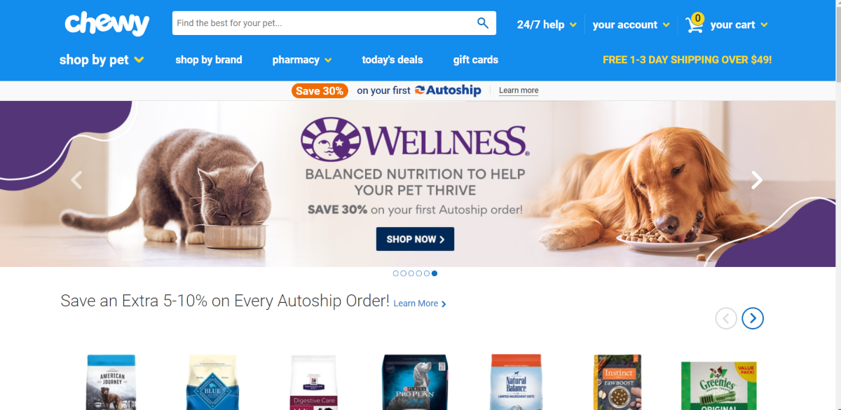 This is a screenshot taken from the chewy.com website showing a photo of a dog and a cat eating the Wellness pet food range, which is a balanced nutritional range for pets.