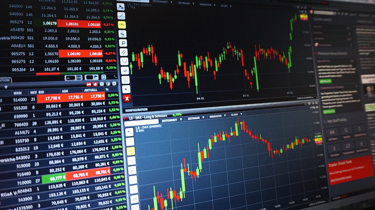 The image shows the view of a PC monitor with trading software on the screen that would be used by a day trader to monitor the stock market, perform technical analysis to decide whether to place an entry or exit the trade. Day Trading Affiliate Programs are used to market software traders need to do their job successfully.
