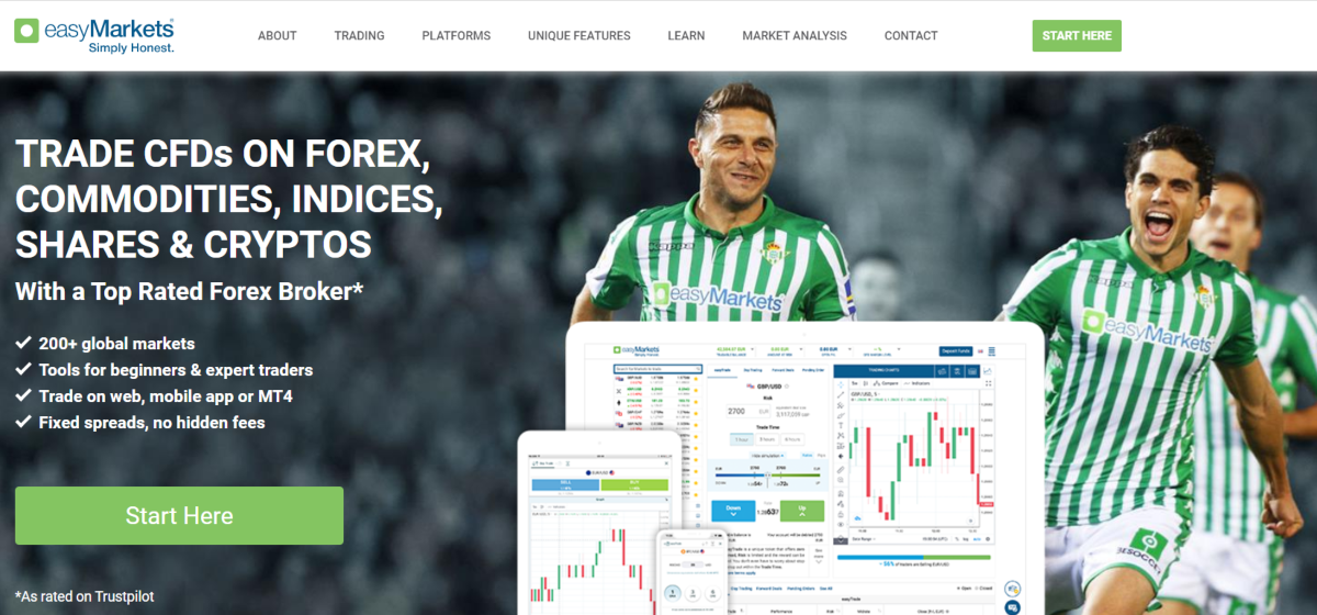 This is a screenshot taken from the Easy Markets trading website showing day traders can trade on CFDs, Forex, Commodities, Shares, crypto currencies, plus over 200 markets.