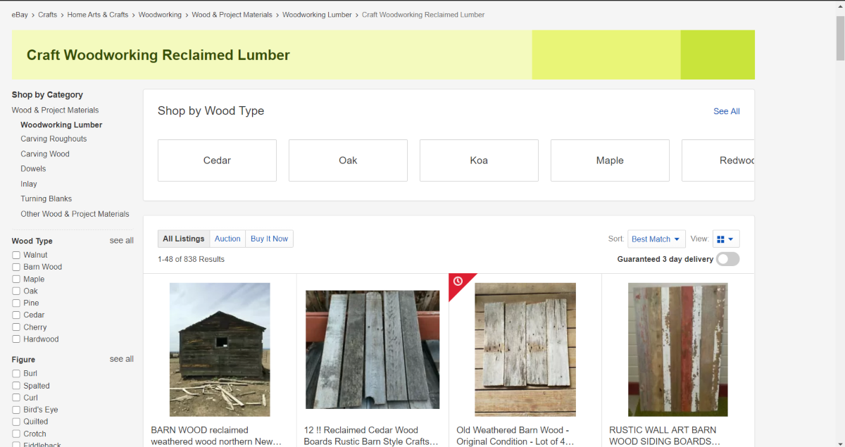 This is a screenshot taken from the Reclaimed Wood Category of ebay.com