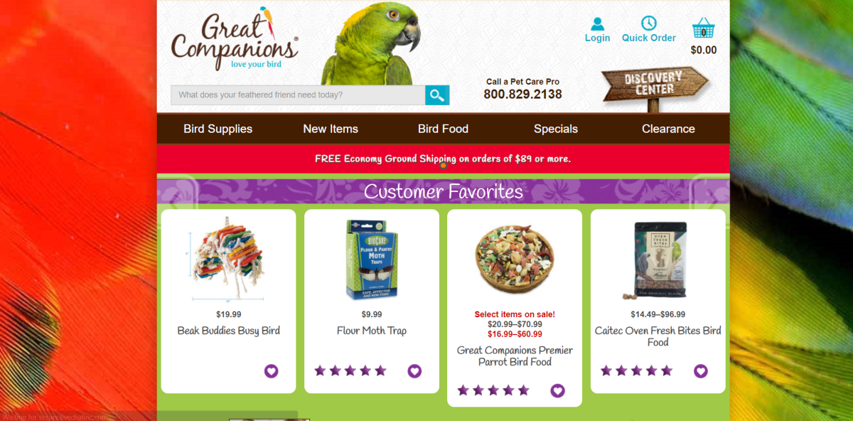"This is a screenshot taken from the GreatCompanions.com website showing a photo of a parrot with the message ""love your bird"" and a range of bird food supplies available on the store."