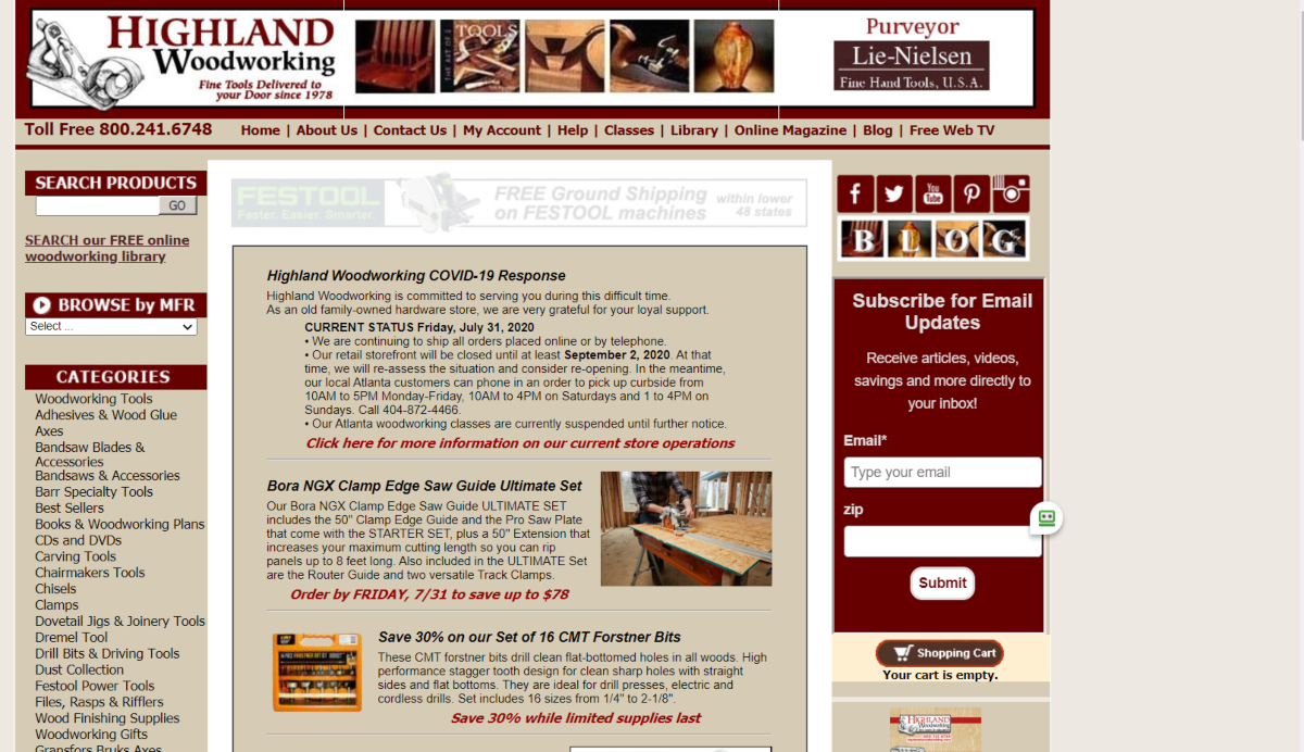 This is a screenshot taken from the HighlandWoodworking.com website