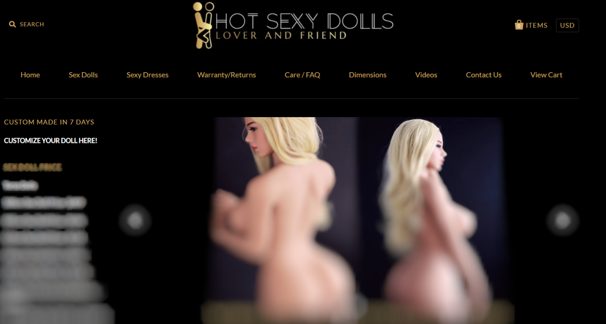 This is a screenshot taken from HotSexyDolls.com showing they sell customizable real, life-like dolls (nudity obscured)