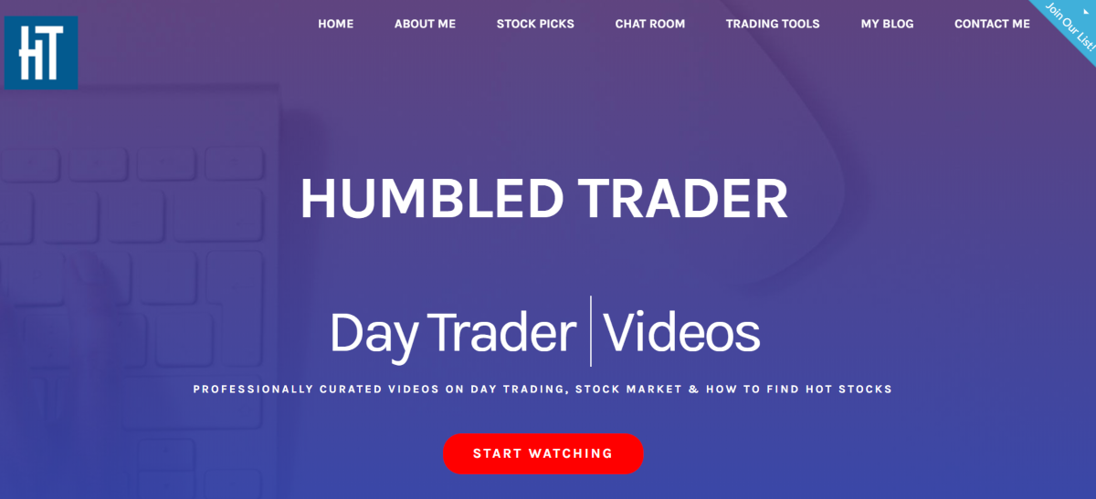 s is a screenshot taken from the HumbledTrader.com website showing they have a range of educational content, a stock picks service and a chat room for traders to connect on.