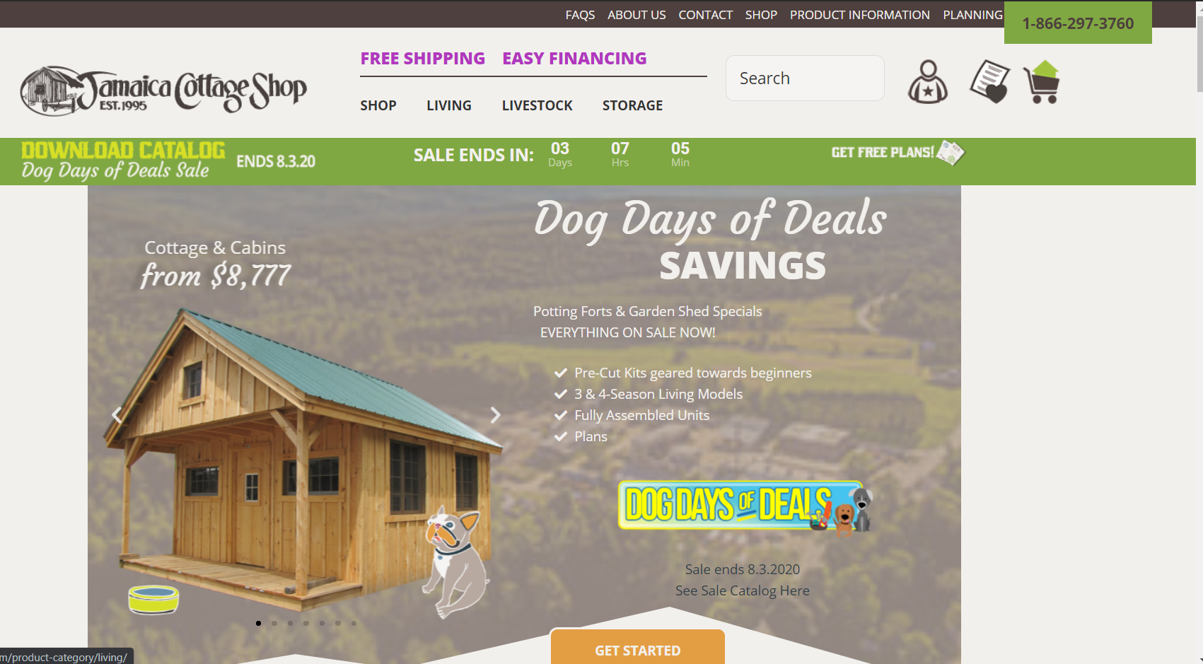 This is a screenshot taken from the JamaicaCottageShop.com website that sell woodworking plans and outbuildings made of quality lumber.
