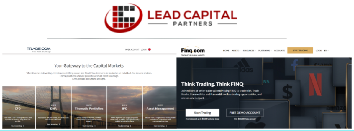 This image shows the home page of Trade.com and Finq.com along with the company logo of Lead Capital Partners, which manages the affiliate program for both trading platforms.