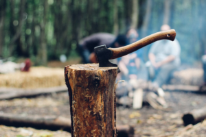 The image shows a photo of a log with an axe with some lumbermen in the background in the forest where lumber is typically cut down before being shipped to a lumber yard