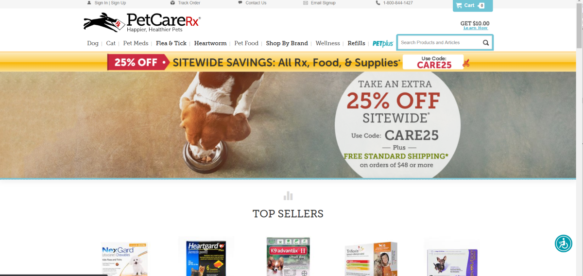 This is a screenshot taken from the Pet Care RX website showing a photo of a dog eating it's food and a list of their top selling nutritional products for pets.