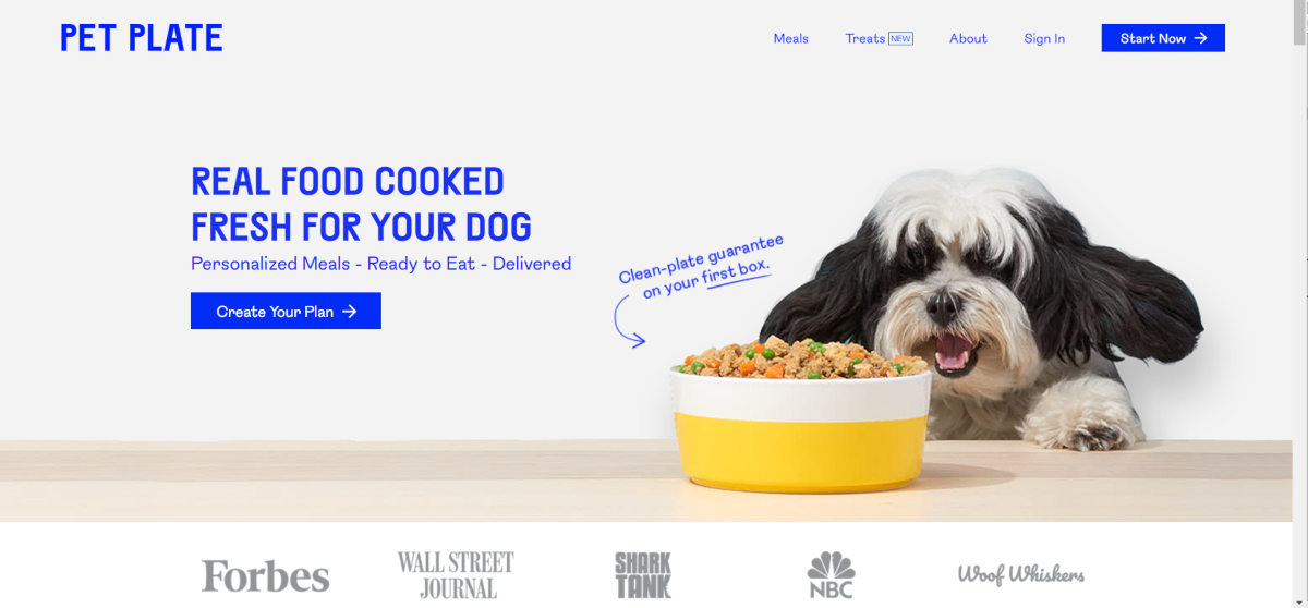 This is a screenshot taken from the PetPlate.com showing a photo of dog along with a photo of a food dish showing chunks of meat and vegetables. The company provide real cooked meals for dogs!