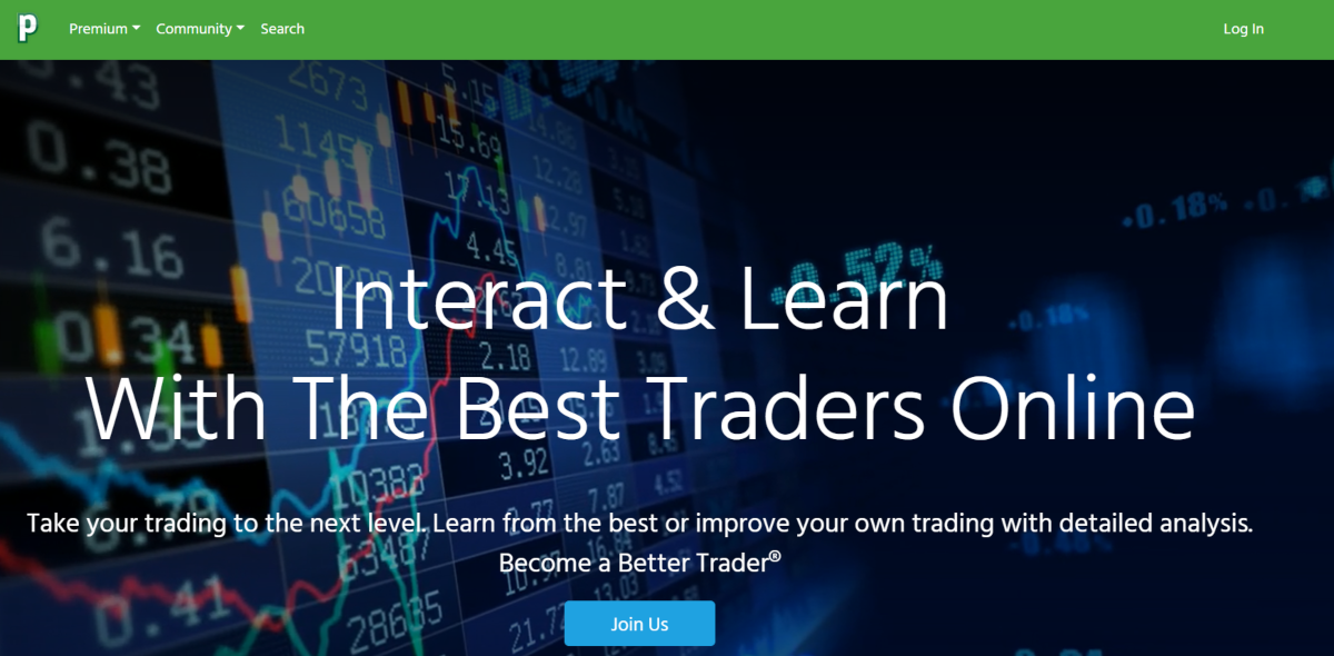 This is a screenshot taken from the Profit.ly website showing they provide a social trading platform where day traders of all experiences can discuss strategies and learn from the community