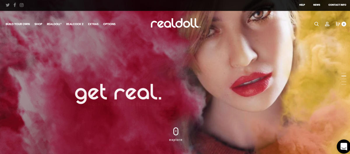 This is a screenshot taken from the RealDoll.com website showing the more real looking doll face that's made with premium silicon