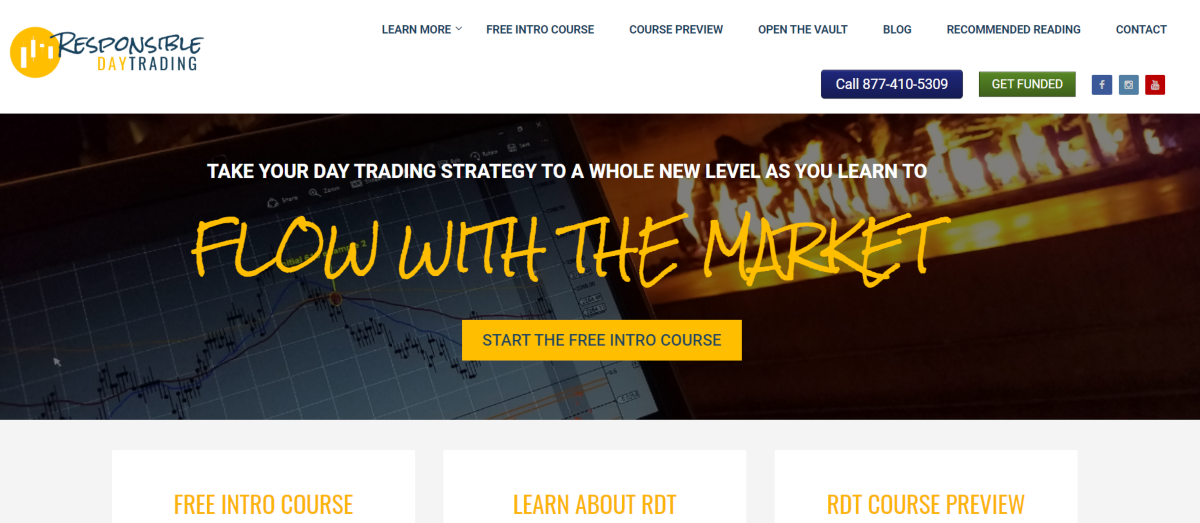 This is a screenshot taken from the ResponsibleDayTrading.com website, which provides day trading education created and supported by Lindsay Duff.